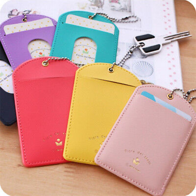 Student PU Leather ID Credit Card Key Chain Ring Holder Wallet Purse Pocket Z