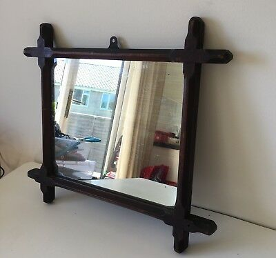 Antique Victorian Mirror In Oak Frame Heavy