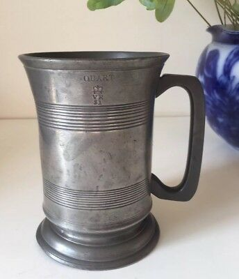 Victorian Quart Tankard In Pewter.  Stamped For Royal Standard Pub Egham Surrey
