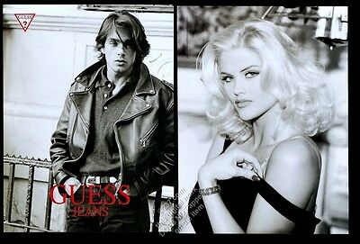 1993 Anna Nicole Smith sultry photo Guess jeans vintage print ad
