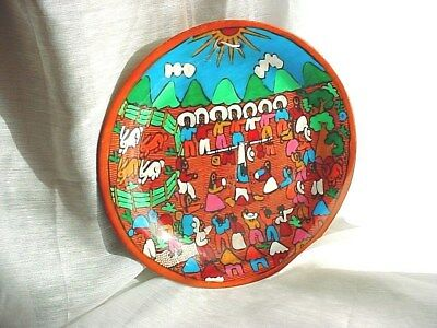 Vtg Folk Art Picture Plate 7 inch Hand Painted Rabbits Mountains South American