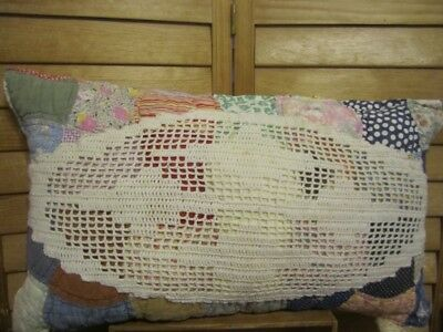 Primitive Quilted pillow -vintage doily - vintage quilt - multi-colored