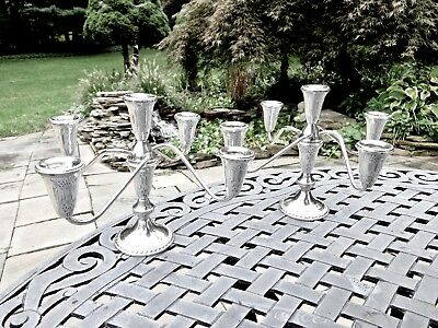 Pair Vintage 5 Light Sterling Silver Convertible Candelabras,perfect