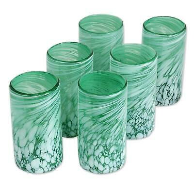 Hand Blown Glasses 'Festive Green' Set of 6 Artisan-Made Tumblers NOVICA Mexico
