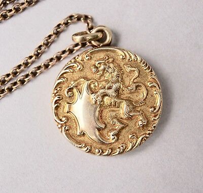 0a27cd133da8a ANTIQUE 14K GOLD Lion Locket & Necklace . Marked 14K . Yellow Gold  Beautiful .