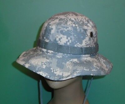 80af60d77d5 US Military Issue Army Combat Uniform ACU Camouflage Boonie Sun Hat Cap Sz 7 -1