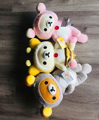 "16"" Korilakkuma San-X  Rilakkuma Honey Bee, Pink, Gray Sea Otter Plush BUNDLE"