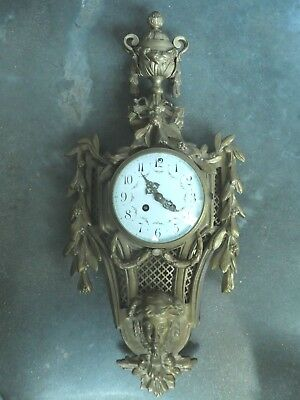 "French 19Th C Bronze Dore Samuel Marti  Figural Wall Clock ""as Is"""