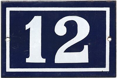 Old blue French house number 12 door gate plate plaque enamel steel metal sign