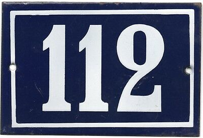 Old blue French house number 112 door gate plate plaque enamel steel metal sign