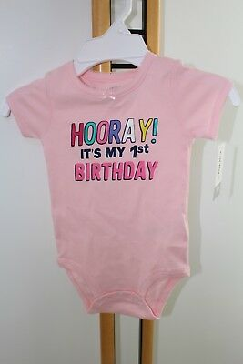 Carters Girls Size 12 Months 1st Birthday Pink Shirt Body Suit NEW NWT
