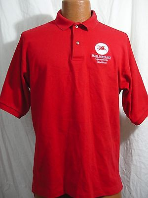 Red Mobil Team Torrance Gas Oil Promo Golf Polo Shirt  L Large Made in USA