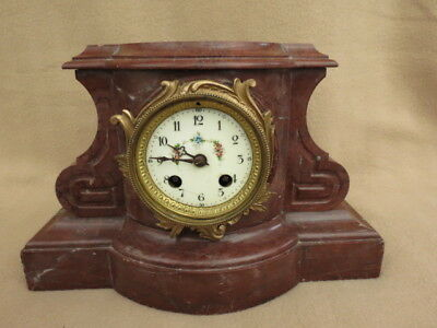 Very Heavy Antique French Rouge Marble Mantel Clock For Spares Or Repair