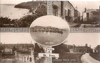 Superb Scarce Old 5 View Real Photo Postcard - St. Ives - Cornwall C.1912