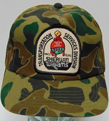 Vtg 1990s SHERWIN WILLIAMS Waco TX ADVERTISING PATCH Camo Snapback Trucker Hat