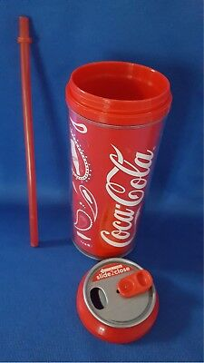 Coca-Cola Plastic Travel 16oz Tumbler With Lid & Straw Double Wall Insulated #5