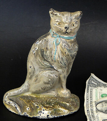 Rare Antique vtg CAT in Bow DOORSTOP Early 1900s Cast Iron Old-Repaint
