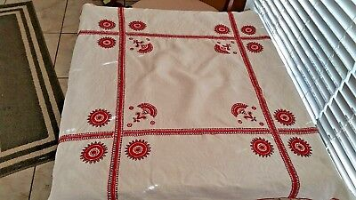 Vintage White Linen  Embroidered Luncheon Tablecloth  Vibrant Red Motiff