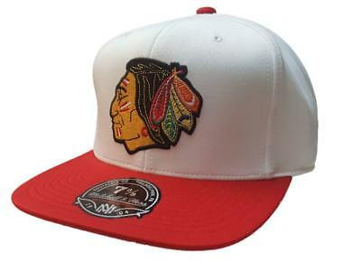 Chicago Blackhawks Mitchell & Ness White & Red Fitted Flat Bill Hat Cap (7 3/8)