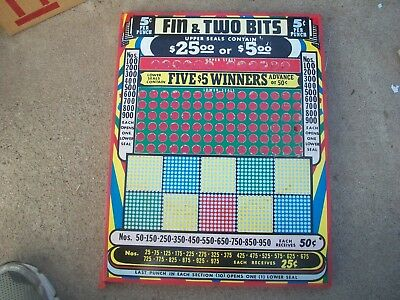 FIN & TWO BITS  5 cent Punch Board un-punched but not sealed FREE shipping