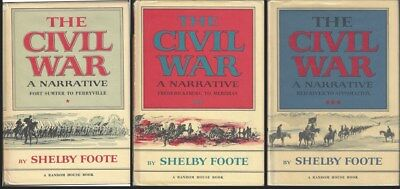 The Civil War A Narrative by Shelby Foote 3 Volume Hardcover Set w Dust Jackets