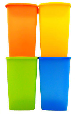 Tupperware Large Square Round Fridge 2.0L Set of 4 Airtight