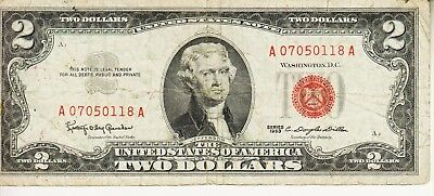 1953     Two Dollar Red Seal CIRCULATED