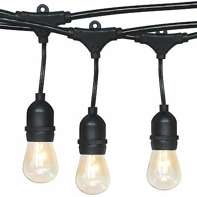 BCP 48ft Commercial Weatherproof Patio String Lights - Black