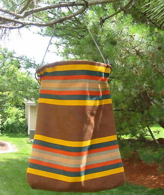 Vtg Canvas Thick Striped Retro Laundry Clothespin Bag Heavy Duty Cloth Metal Old