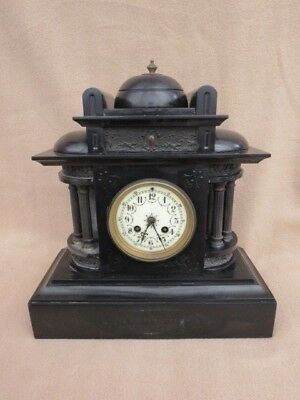 Very Large Antique French Striking Black Slate Mantel Clock For Tlc