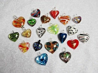 JOB LOT 20 New GLASS HEART PENDANTS All Different Ideal for Resale/Gifts A