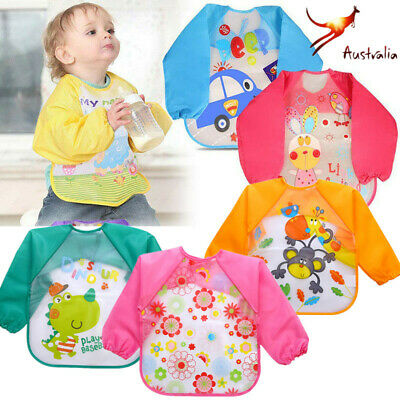 HOT Kids Long Sleeve Baby Bibs Bib Apron Waterproof Art Smock Feeding Toddler AY