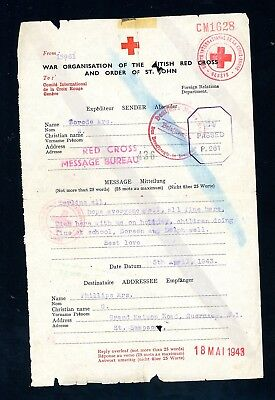 Channel Islands  1947   Red Cross Message Form     (O613)