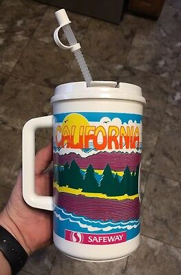 CALIFORNIA Safeway Supermarket 32oz. Whirley Thermo Mug Cup Hot Cold Drink USA