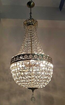 Antique French Empire Brass & Crystals LARGE Chandelier from 1950's