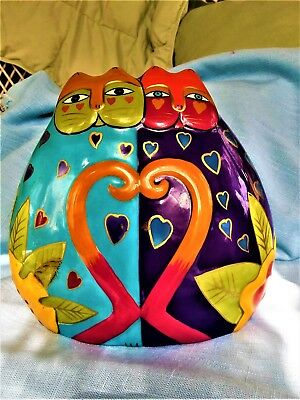 """Laurel Burch Ceramic Colorful Cats In Love Coin Piggy Bank with Stopper New 6"""""""