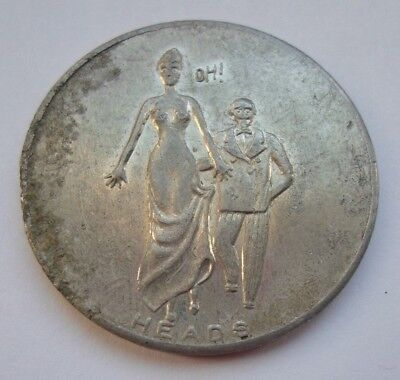 Vintage Adult Naughty Comic Flip Token Coin / Heads Tails