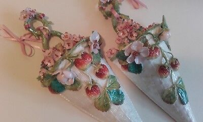 Pair Antique Staffordshire Wall Pockets Vase Strawberries / Moore Goode London