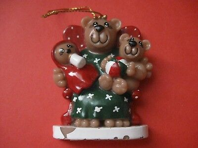 resin teddy bear mom angel Christmas ornment *damaged*
