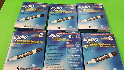 1 Lot of 6 EXPO Low-Odor Dry Erase Markers, Chisel Tip, AST. Colors 8-Count (48)