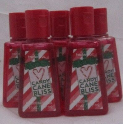 Bath & Body Works PocketBac Anti-Bacterial Hand Gel Candy Cane Bliss Set of 5