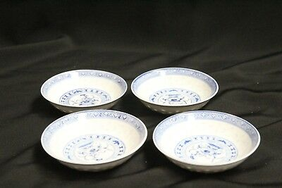 4 Chinese Porcelain Rice Pattern Blue White Flowers Bats Low Round Sauce Bowls