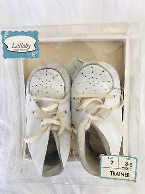Vintage Lullaby White Leather Baby Walking Trainer Shoes Size 2 3-5 Mo. With Box