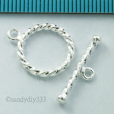 1x STERLING SILVER BRIGHT TOGGLE ROUND TWIST ROPE CLASP 14mm #1605