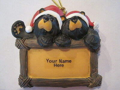 Bearfoots Bear Couple Ornament with Hanging string Big Sky Carvers Write in name