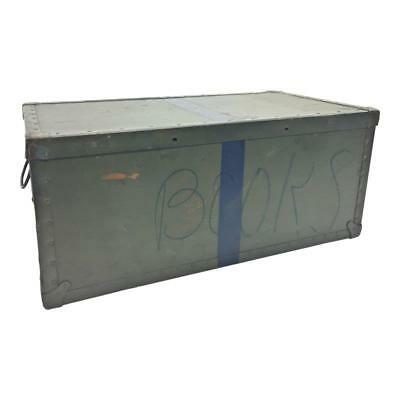 Vintage MILITARY TRUNK Storage Lid Foot Locker Army Coffee Table Box Green  Chest