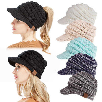 Women Fall Winter Knit Hat Sun Brim Beanie Cap With Ponytail Hole Fashion Warm