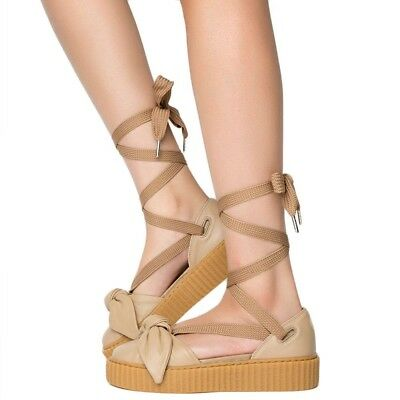 PUMA Fenty Rihanna Natural Oatmeal Lace Up Ballet Bow Creeper Sandal Shoe 10 19cf56467