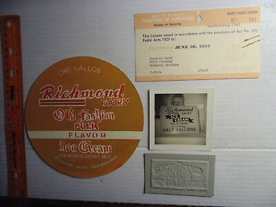 1940s-50s Richmond Dairy (Michigan) Advertising Items Document Photo Rare