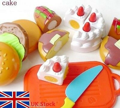 Kid Kitchen Pretend Role Play Food Toy Pre-School Plastic Fruit Cake Cutting Set